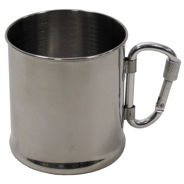 Cup, Stainless Steel, carabiner, single-walled, ca. 220 ml