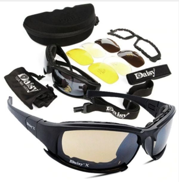 Tactical safety glasses with 3 different colour lenses.