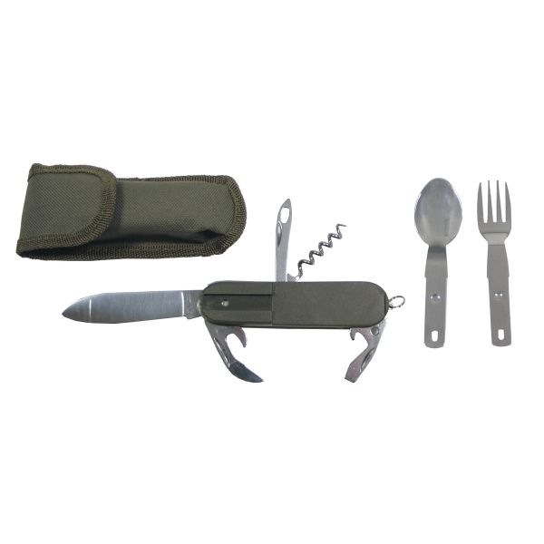 Pocket Knife, OD green, fork and spoon