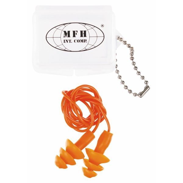 Earplugs, orange, with case
